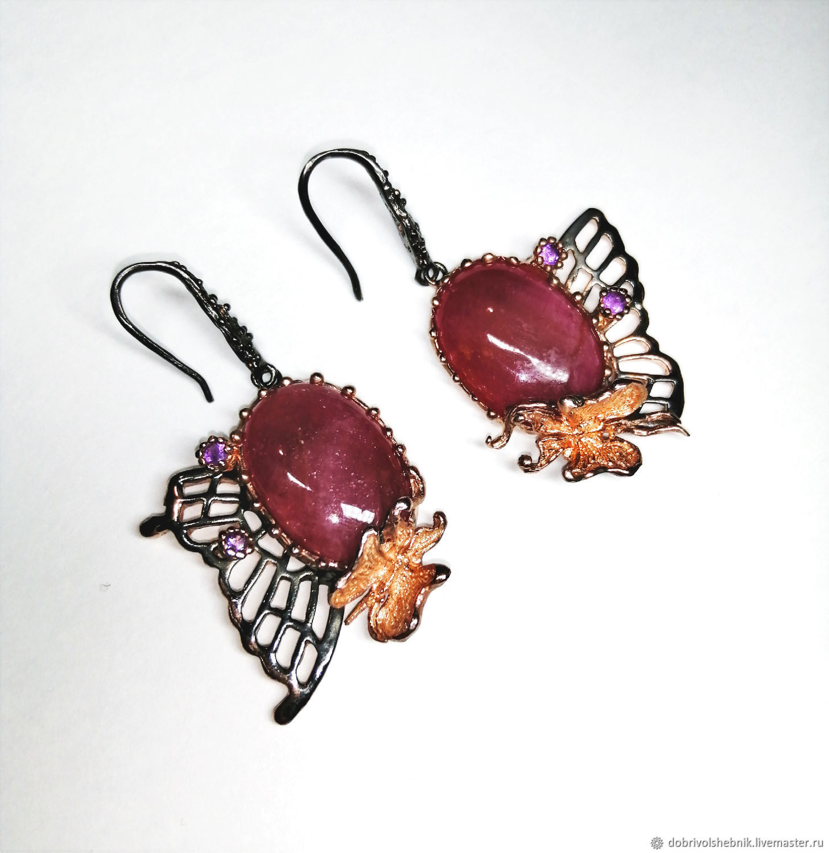 Large earrings 'butterfly Wings' with natural rubies, Thread earring, Novaya Usman,  Фото №1