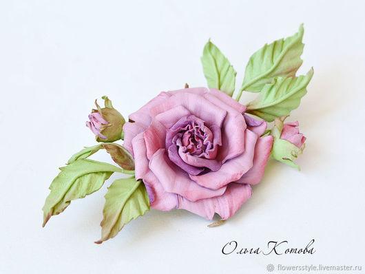 Броши ручной работы. Ярмарка Мастеров - ручная работа. Купить Розовая брошь-цветок Роза Нежнее нежного Цветы из кожи. Handmade.