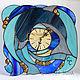 """Часы для дома ручной работы. Ярмарка Мастеров - ручная работа. Купить Витражные часы """"Дельфин"""". Handmade. Тёмно-синий, море"""