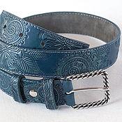 Аксессуары handmade. Livemaster - original item A leather belt with embossed Blue-turquoise. Handmade.