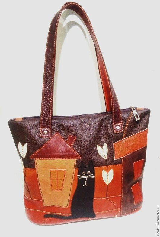 """Женские сумки ручной работы. Ярмарка Мастеров - ручная работа. Купить """"Кот"""" сумка из натуральной кожи. Handmade. Комбинированный"""