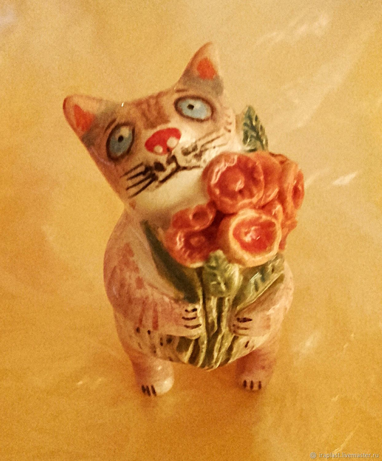 Ceramic Cat With Flowers Shop Online On Livemaster With Shipping