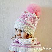 """Работы для детей, ручной работы. Ярмарка Мастеров - ручная работа Шапочка и снуд - """"Розовые снежинки"""". Handmade."""