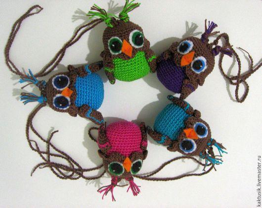 """Развивающие игрушки ручной работы. Ярмарка Мастеров - ручная работа. Купить Погремушки """"Совята"""". Handmade. Разноцветный, погремушка вязаная, фетр"""