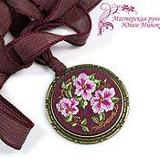 Украшения handmade. Livemaster - original item Embroidered pendant blossom. Handmade.
