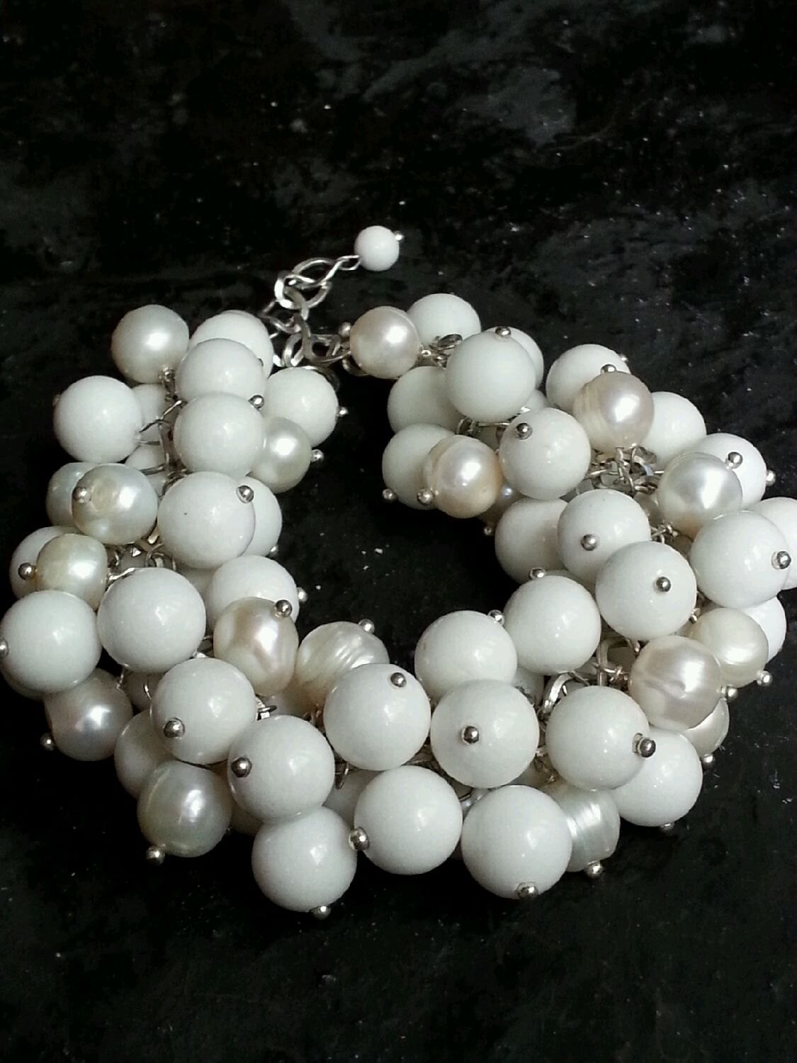 Bracelet made of pearls and agate 'White', Bead bracelet, Moscow,  Фото №1