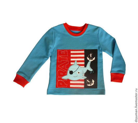 """Одежда унисекс ручной работы. Ярмарка Мастеров - ручная работа. Купить Толстовка """"Пиратка"""". Handmade. Синий, рыбка, для мальчика"""