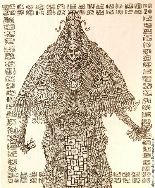 Фантазийные сюжеты ручной работы. Ярмарка Мастеров - ручная работа. Купить Кецалькоатль. Handmade. Чёрно-белый, майя, бумага, линёры