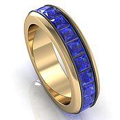 Украшения handmade. Livemaster - original item A gold Swivel Ring with square blue sapphires. Handmade.