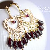 Украшения handmade. Livemaster - original item Garnet earrings, hearts, gold. Handmade.
