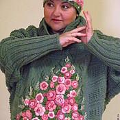 Одежда ручной работы. Ярмарка Мастеров - ручная работа Свитер женский большого размера с ручной вышивкой Лесная поляна. Handmade.