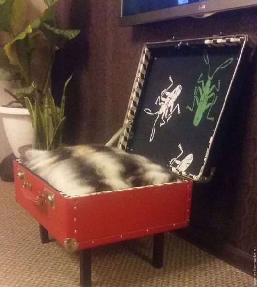 Корзины, коробы ручной работы. Ярмарка Мастеров - ручная работа. Купить чемодан-тумба-кровать кота. Handmade. Ярко-красный