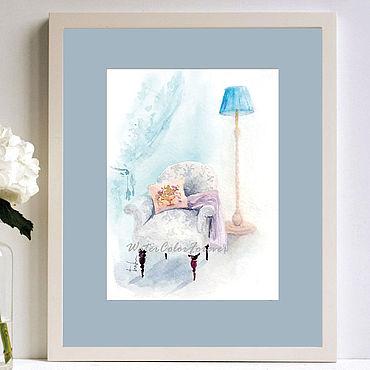 Картины и панно ручной работы. Ярмарка Мастеров - ручная работа Акварель Старинное кресло. Handmade.