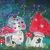 """Картины и панно ручной работы. Ярмарка Мастеров - ручная работа Панно """"Ночные мухоморы"""". Handmade."""