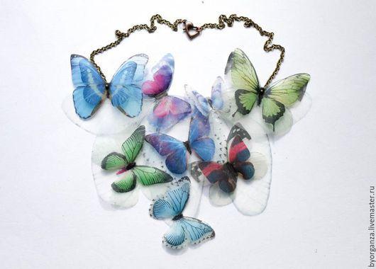 Колье, бусы ручной работы. Ярмарка Мастеров - ручная работа. Купить Колье с бабочками из органзы. Handmade. Бабочки из органзы