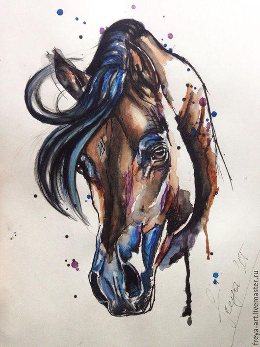 Животные ручной работы. Ярмарка Мастеров - ручная работа. Купить Араб. Handmade. Лошадь, акварельная живопись, портрет по фото