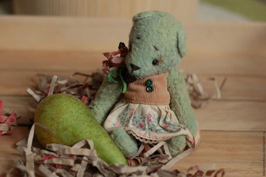 Мишки Тедди ручной работы. Ярмарка Мастеров - ручная работа. Купить Мишка ...Spring.... Handmade. Мишки тедди, комбинированное платье