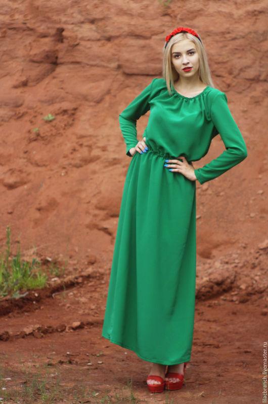Платья ручной работы. Ярмарка Мастеров - ручная работа. Купить Платье Зеленое в пол.. Handmade. Зеленый, платье, платье в пол