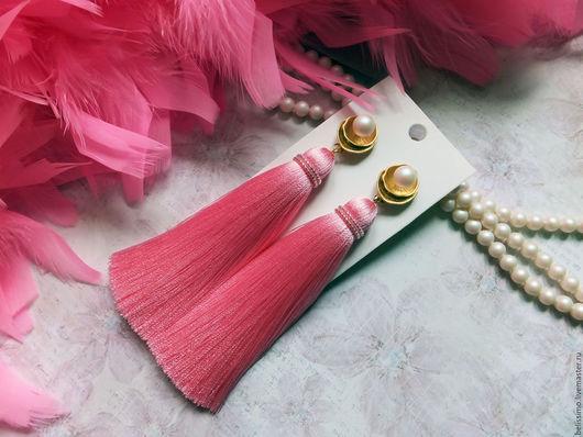 """Серьги ручной работы. Ярмарка Мастеров - ручная работа. Купить Серьги - кисти """"Pink pearl"""". Handmade. Серьги, кисточки"""