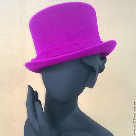 Шляпы ручной работы. Ярмарка Мастеров - ручная работа. Купить Велюровый цилиндр. Handmade. Фиолетовый, дизайнерские шляпки, велюровый фетр