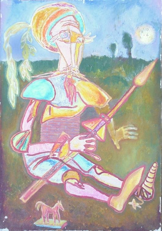 """Абстракция ручной работы. Ярмарка Мастеров - ручная работа. Купить """"Дон Кихот Мультяшный"""". Handmade. Рыцарь, лошадь, копье, акрил"""