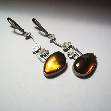 Decorations handmade. Livemaster - original item Ammolite earrings