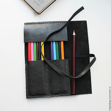 Канцелярские товары ручной работы. Ярмарка Мастеров - ручная работа Пенал для ручек и карандашей кожаный. Handmade.