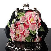 Сумки и аксессуары handmade. Livemaster - original item Bag with clasp: Black retro style handbag with vintage embroidery. Handmade.