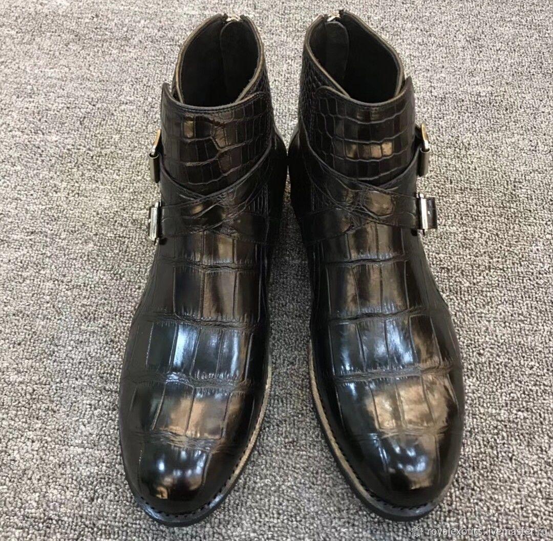 Crocodile leather ankle boots, demi-season, black, Boots, Tosno,  Фото №1