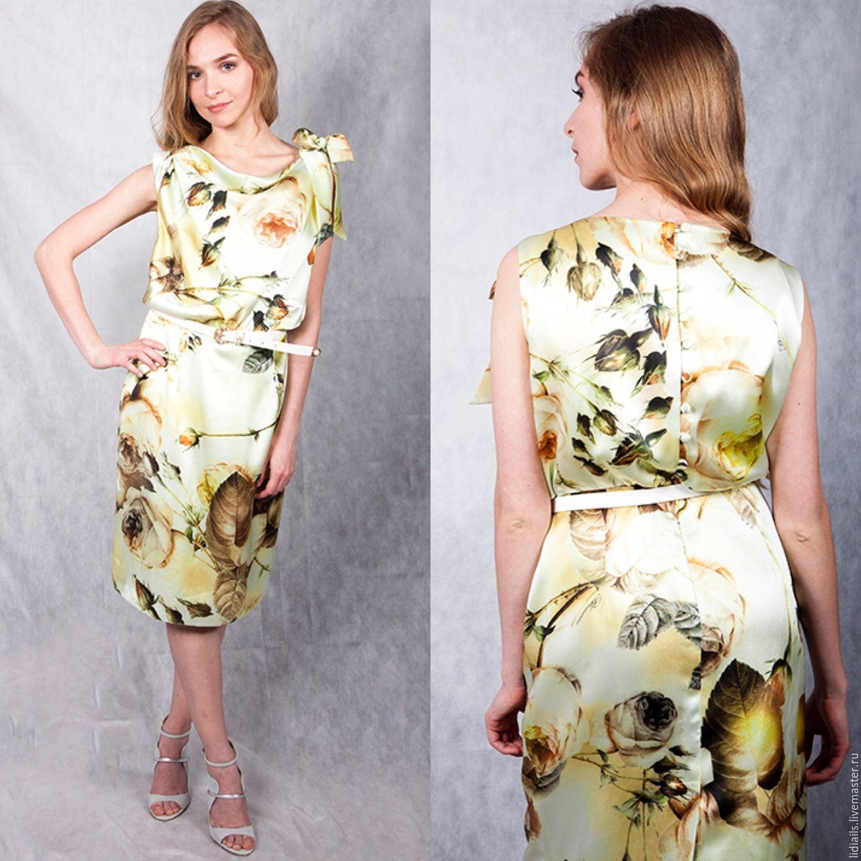 Платье из шелка с цветами купить