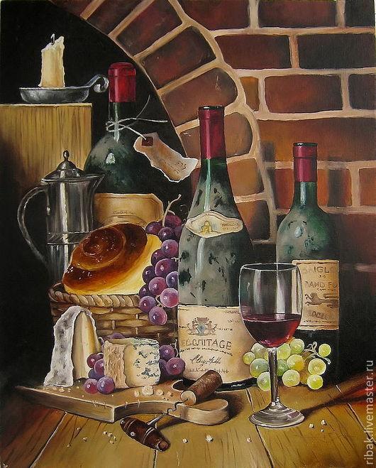 Натюрморт ручной работы. Ярмарка Мастеров - ручная работа. Купить Картина маслом. Старое вино. Для гурмана.. Handmade. Картина