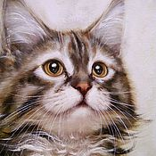 Pictures handmade. Livemaster - original item Oil painting of a Little Maine Coon. Handmade.