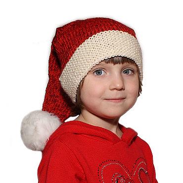 Одежда ручной работы. Ярмарка Мастеров - ручная работа Шапка Новогодняя Колпак Санты 100% шерсть Красный. Handmade.