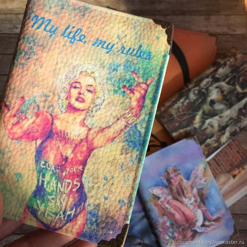 """Обложка на паспорт, обложка для документов (кожа) """"My life, My rules"""", Обложки, Обнинск, Фото №1"""
