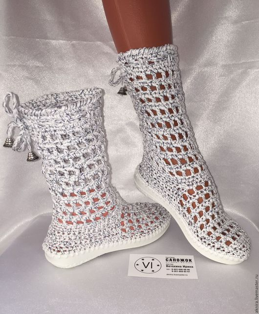 Детская обувь ручной работы. Ярмарка Мастеров - ручная работа. Купить Сапоги вязанные крючком для девочки. Handmade. Челябинск