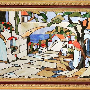 """Для дома и интерьера ручной работы. Ярмарка Мастеров - ручная работа Витраж (Тиффани) - """"Дух Италии"""". Handmade."""