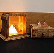 "Для дома и интерьера handmade. Livemaster - original item Светильник и шкатулка из дуба с пирамидами ""Солнце Харада"". Handmade."
