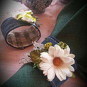 """Для дома и интерьера ручной работы. Ярмарка Мастеров - ручная работа Кольцо для салфеток из льна """"Ромашки"""". Handmade."""