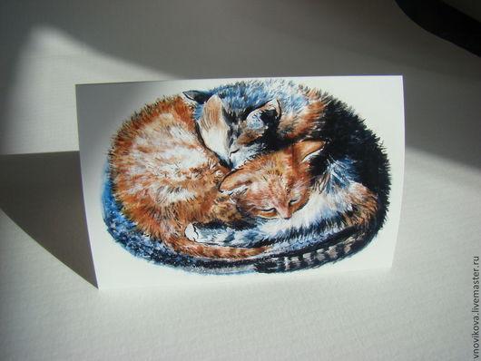 """Детские открытки ручной работы. Ярмарка Мастеров - ручная работа. Купить Поздравительная открытка   """" Теплый клубок """". Handmade."""