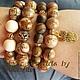 Фото.1 комплект браслетов.  Яшма тигровый глаз слоновая кость