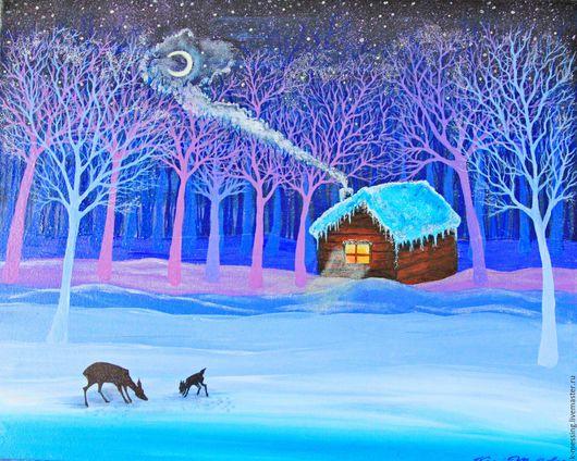 Пейзаж ручной работы. Ярмарка Мастеров - ручная работа. Купить Рождественская ночь. Handmade. Зимний сюжет, картина в подарок