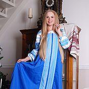 Одежда ручной работы. Ярмарка Мастеров - ручная работа Сарафан косоклинный синий. Handmade.