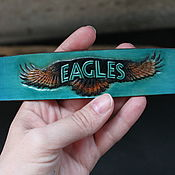 Украшения handmade. Livemaster - original item Leather bracelet, embossing, 1st album by Eagles. Handmade.
