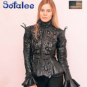Одежда handmade. Livemaster - original item Jacket women`s exclusive black leather with a collar of feathers. Handmade.