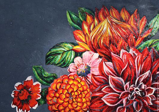 Картины цветов ручной работы. Ярмарка Мастеров - ручная работа. Купить Панно из мозаики Цветы. Handmade. Комбинированный, подарок, цветы