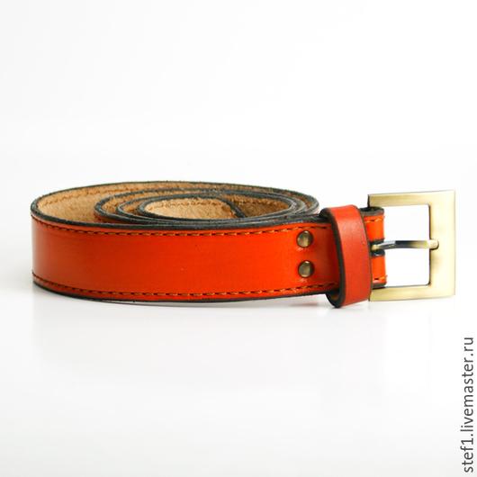 """Пояса, ремни ручной работы. Ярмарка Мастеров - ручная работа. Купить Ремень кожаный """"Три"""". Handmade. Оранжевый, кожаный ремень"""