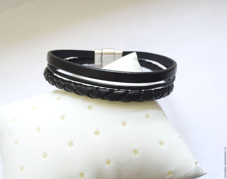 Мужской кожаный браслет из трех видов кожи, черный, Браслеты, Москва, Фото №1
