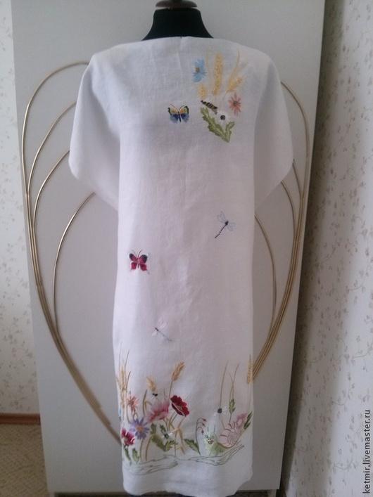 Платья ручной работы. Ярмарка Мастеров - ручная работа. Купить вышитая шелком заготовка на платье  (лен). Handmade. Белый