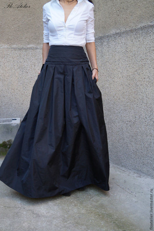 """Юбки ручной работы. Ярмарка Мастеров - ручная работа. Купить Длинная юбка ''MAXI""""/ Черная юбка/ F1190. Handmade. Черный"""