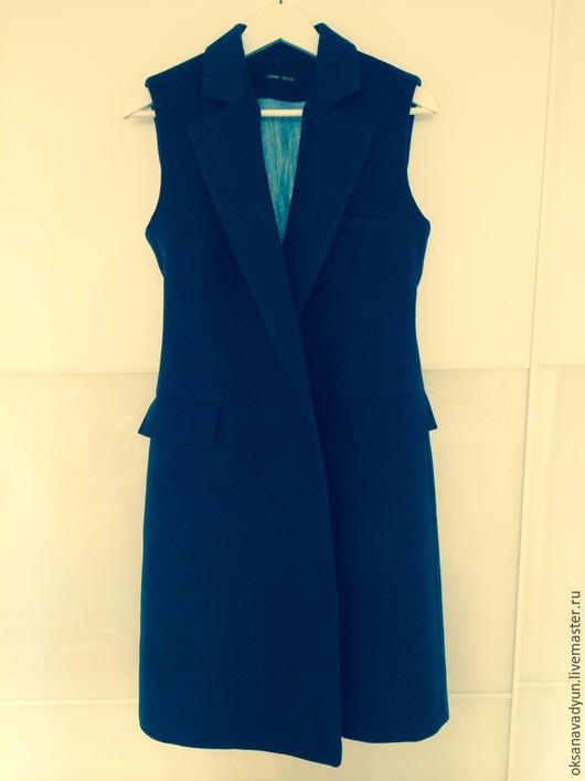 Верхняя одежда ручной работы. Ярмарка Мастеров - ручная работа. Купить Жилет из кашемира Dark blue. Handmade. Тёмно-синий
